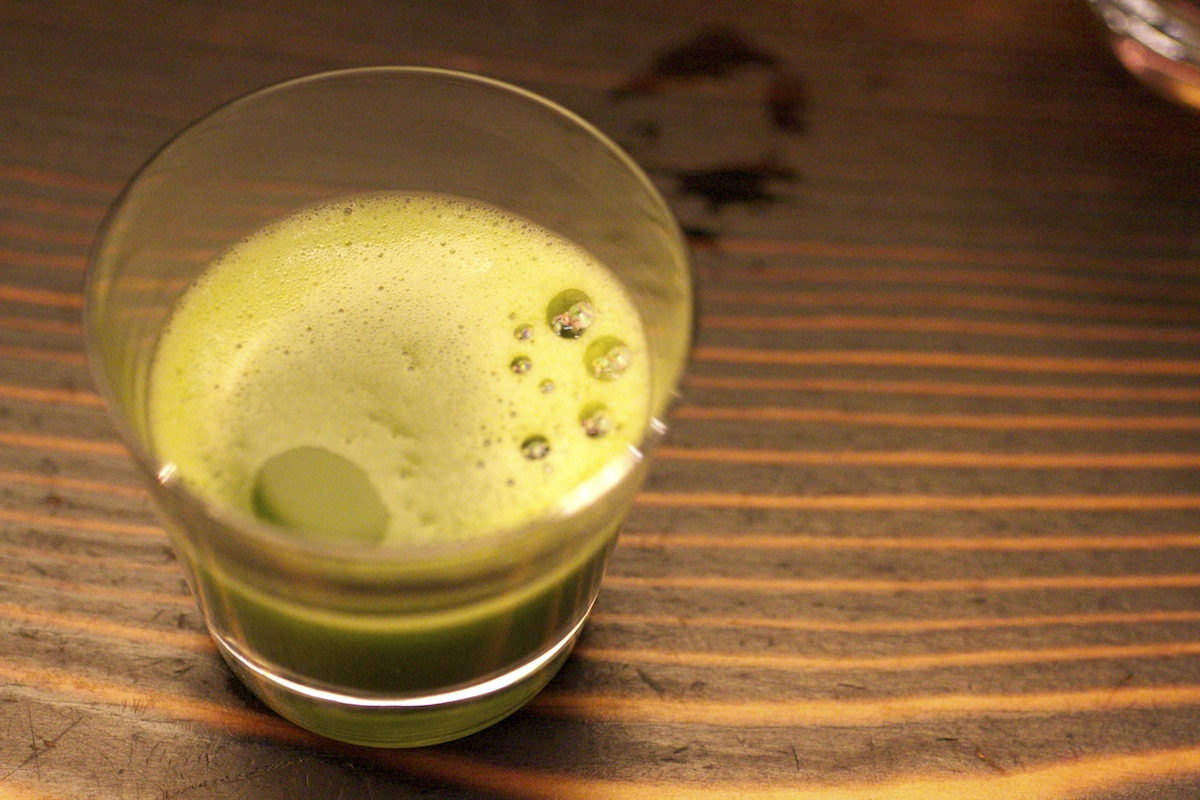 Matcha Shot freshly poured at the O5 Tea Bar in Vancouver