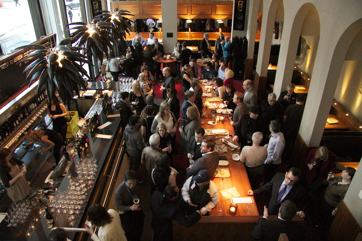 Wine industry and media mingle at the JOEY Bentall One Wine Room.