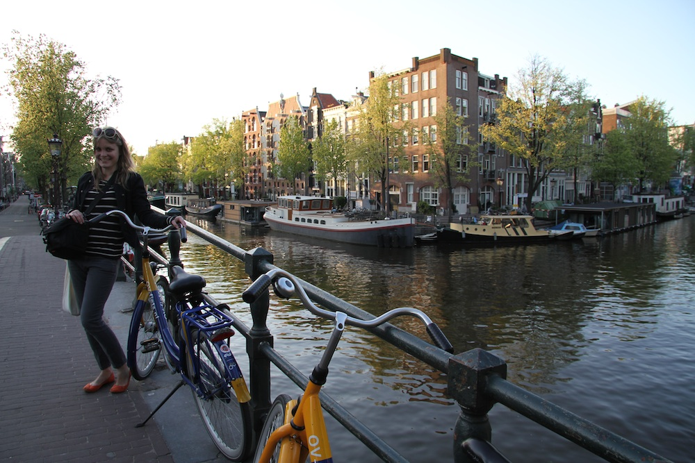 Robyn and her bicycle in Amsterdam's Jordaan