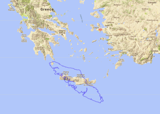 Map of Vancouver Island compared to Crete, Greece