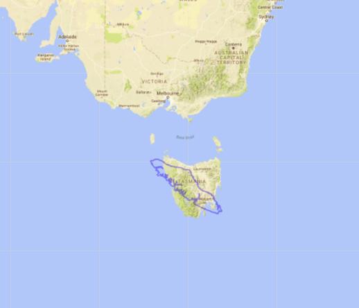 Map of Vancouver Island compared to Tasmania, Australia