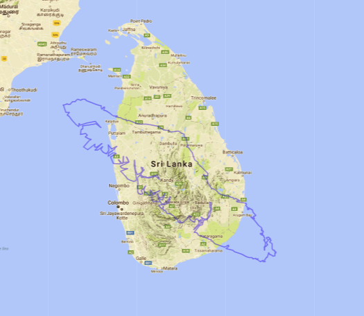 Map of Vancouver Island compared to Sri Lanka