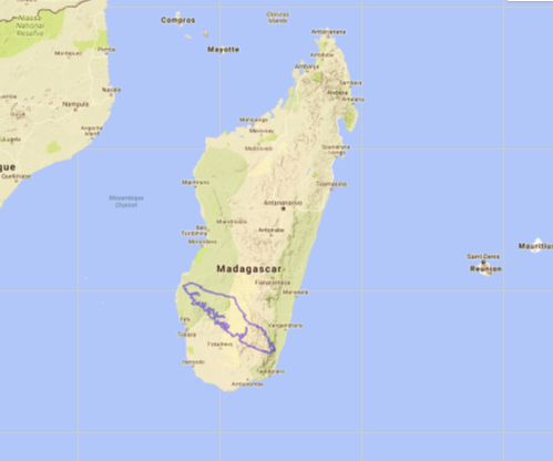 Map of Madagascar compared to Vancouver Island