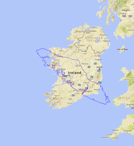 Map of Vancouver Island compared to Ireland